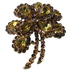 Vintage Crown Trifari Flower Pin Loaded With Amber and Champagne Crystals