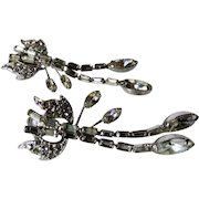 Vintage Vendome Clip On Earrings with Clear Crystal Dramatically Dangling