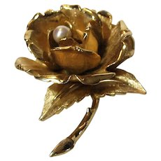Vintage Signed and Numbered Boucher Goldtone Rose Pin With Cultured Pearl Center