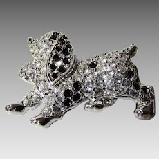 Vintage Signed Swarovski Spotted Dog With Clear and Black Crystals and Green Eye