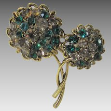 Vintage Hollycraft Goldtone Flower Pin With Green and Grey Crystals