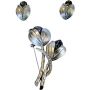 Vintage Matching Pin and Clip On Earring Set in Silver Tone and Featuring Faux Hematite Centers