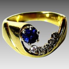 14 Karat Yellow Gold Sapphire Diamond Ring