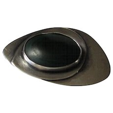 Sterling Silver Malachite Modernist Pin