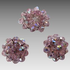 Vintage MId Century Signed Laguna Pink Crystal Pin and Matching Clip Earring Set
