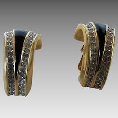 Beautiful Swarovski Clip Earrings with Black Enamelling and Clear Crystal Accents
