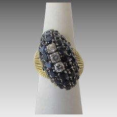 18 Karat Yellow Gold Sapphire and Diamond Ring Custom Design