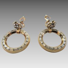 Vintage Crown Trifari Clip On Earring Hoops With Crystal Baguettes Set in Goldtone