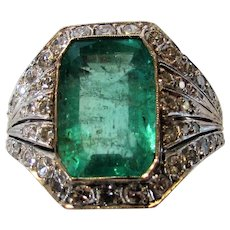 Vintage Deco Ring With 6.75 Natural Emerald Surrounded by Pave Diamonds in 10 Karat White Gold