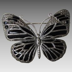 Sterling Silver Butterfly Pin Enhanced with Onyx Wings and Marcasite Accents