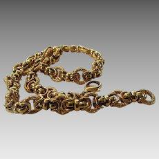 Vintage Goldtone Designer Signed Necklace Heavy and Showy