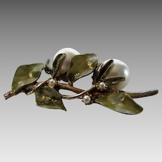 Vintage Signed Goldtone Floral Pin With Green Enamelled Leaves and Giant Faux Pearls