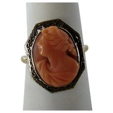 14 Karat Yellow Gold Red Coral Cameo Ring