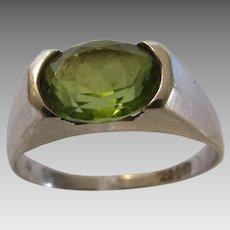 14 Karat White Gold Peridot Modernist Ring