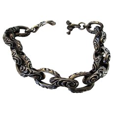 Sterling Silver Heavy Impact Bracelet With Ornate Toggle Closure