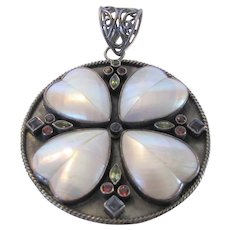 Sterling Silver High Impact Pendant With Abalone Hearts and Tanzanite, Garnet and Peridot Accents