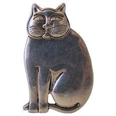 Vintage Laurel Burch Silver Tone Fat Cat Pin or Pendant