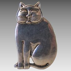 Vintage Laurel Burch Silver Tone Fat Cat Pin or Pendant