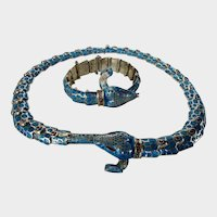 Sterling  Silver Matching Snake Necklace and Bracelet by Melesio Rodriguez