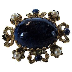 Vintage Pin With Navy Art Glass Center With Faux Pearl and Faux Lapis Accents