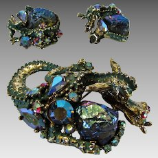 Vintage HAR Fantasy Dragon and Dragon's Egg Set from 1950's Pin and Matching Clip on Earrings