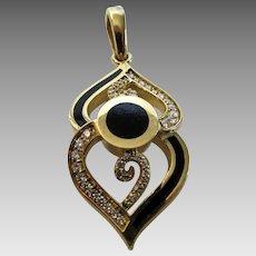 Bernard K Passman 18 Karat Yellow Gold and Onyx Diamond Pendant Limited Edition