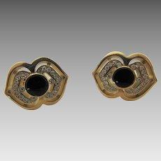 Bernard K Passman 18 Karat Yellow Gold and Onyx Diamond Pierced Earrings