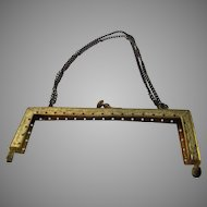 Vintage Made in France Purse Frame Suspended on Double Chain