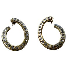 Vintage Christian Dior Big Pierced Earrings in Goldtone Hoops With Clear Swarovski Crystal Accents