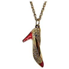 Vintage Swarovski Goldtone High Heel Pendant With Red Enamel and Pave Crystal Accents