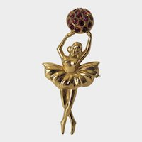 Vintage Goldtone Ballerina Holding Ball Enhanced by Faux Rubies