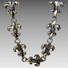 Sterling Silver Heavy Fleur De Lis Necklace With Custom Designed Clasp