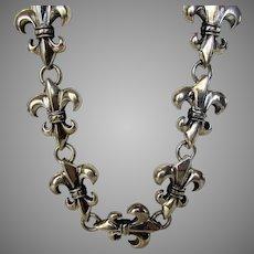 Sterling Silver Heavy Fleur De Lis Necklace With Custom Designed Clasp