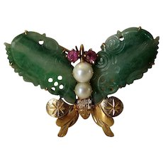 14 Karat Yellow Gold Green Jadite Butterfly Pin Enhanced With Pink Tourmaline and Cultured Pearls