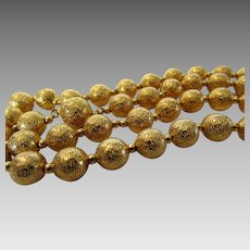 Vintage Goldtone Textured Beads On Chain With Matching Clasp