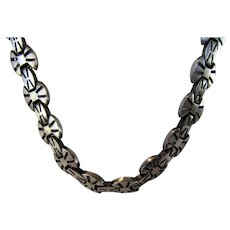 Sterling Silver Necklace With Unique Clasp With Safety