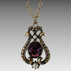 Vintage Goldtone Pendant and Chain by Avon With Faux Pearl and Faux Amethyst Accents