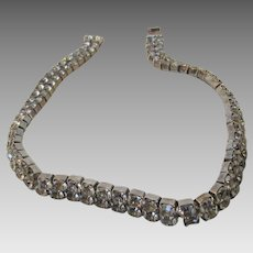 Vintage Costume Crystal Necklace With a Double Row of Smokey Quartz Crystals in Silver Tone