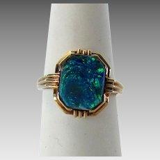 10 Karat  Yellow Gold Black Opal Ring