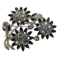 Vintage Lisner Pin in Flower Form With Aurora Borealis Crystals
