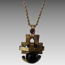 Vintage Deco Pendant or Clip on Goldtone Chain With Faux Garnet Tone Crystal