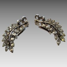 Vintage Unique Rhinestone Double Clip Earrings
