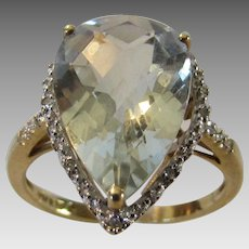 10 Karat Yellow Gold Praisolite With Diamond Accents in Pear Shape Cut