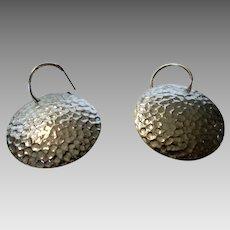 Sterling Silver Hammered Disc on Sterling Hoop Earrings for Pierced Ears