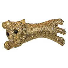 Vintage Goldtone Textured Jointed head Cat With Pave Crystals and Black Eyes