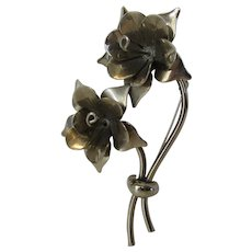 Vintage 1940's Silver Tone Flower Pin