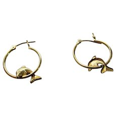 14 Karat Yellow Gold Dolphin Hoop Earrings