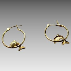 14 Karat Yellow Gold Dolphin Hoop Earrings