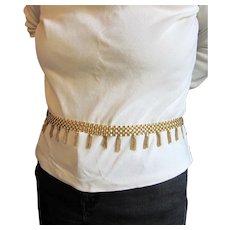 Vintage Goldtone Belt or necklace With Dangling Goldtone Fringe