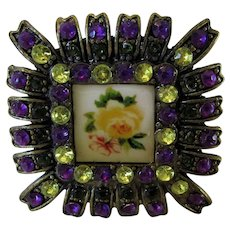 Vintage Pewter Tone Square Pin With Raspberry Black and Clear Crystals Surrounding a Floral Center